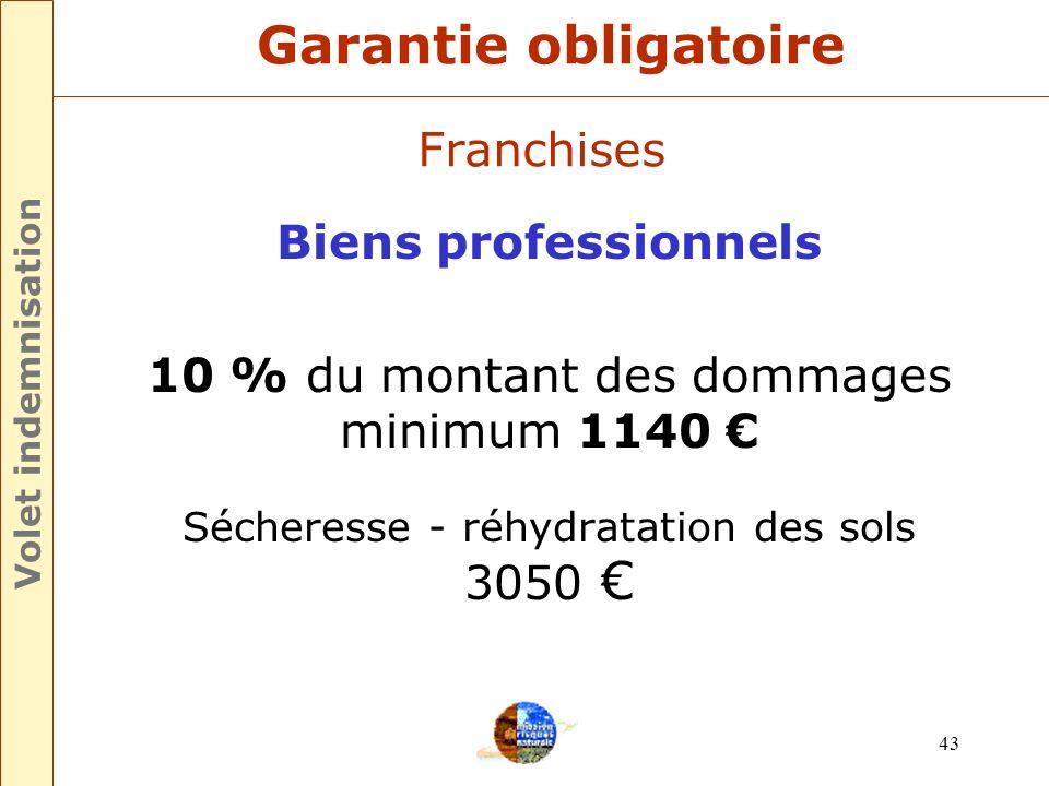 Garantie obligatoire Franchises Biens professionnels