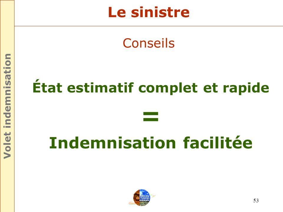 État estimatif complet et rapide Indemnisation facilitée