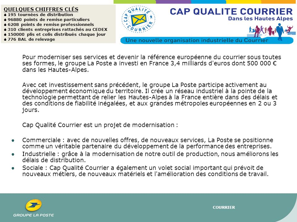 Cap Qualité Courrier est un projet de modernisation :