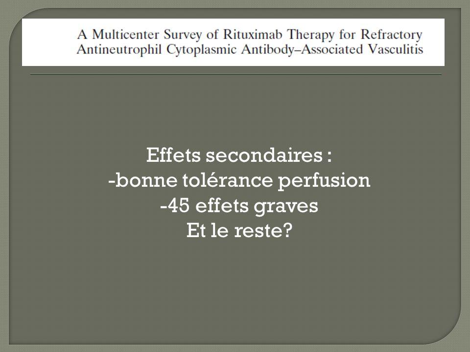 Effets secondaires : -bonne tolérance perfusion -45 effets graves Et le reste