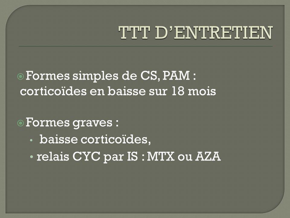 TTT D'ENTRETIEN Formes simples de CS, PAM :