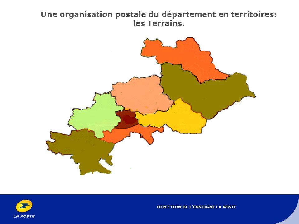 Une organisation postale du département en territoires: les Terrains.