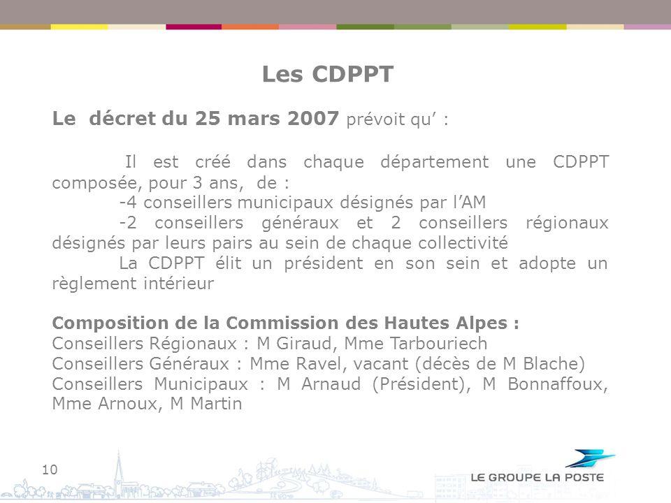 Les CDPPT Le décret du 25 mars 2007 prévoit qu' :