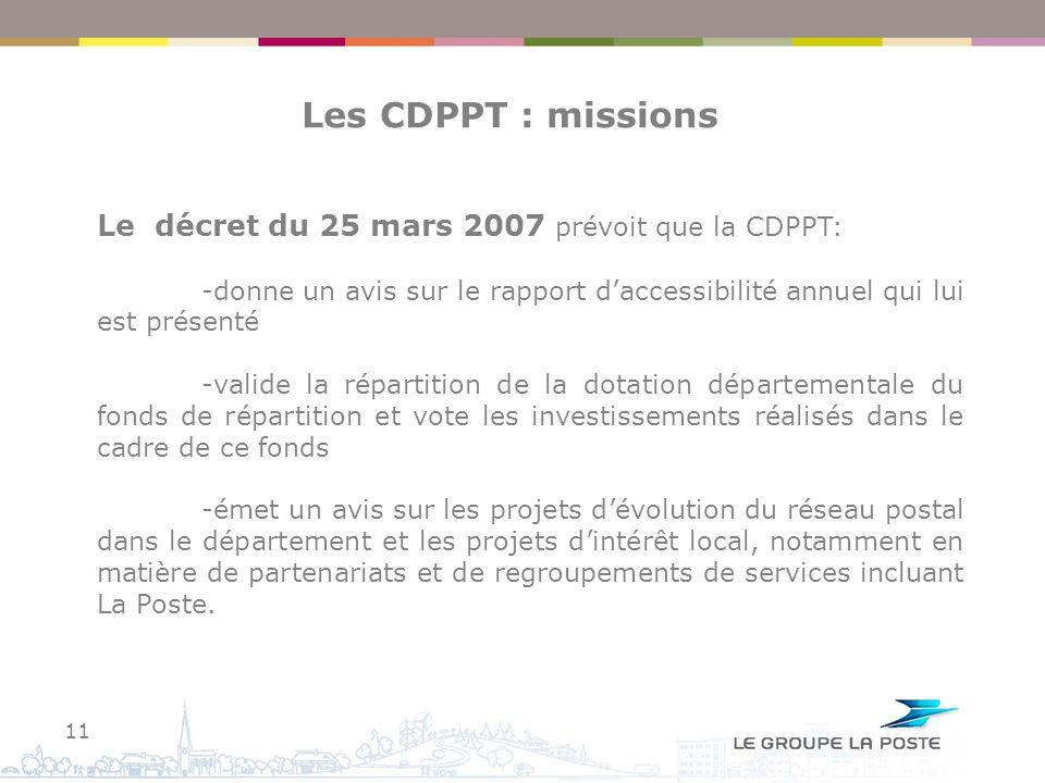 Les CDPPT : missions Le décret du 25 mars 2007 prévoit que la CDPPT: