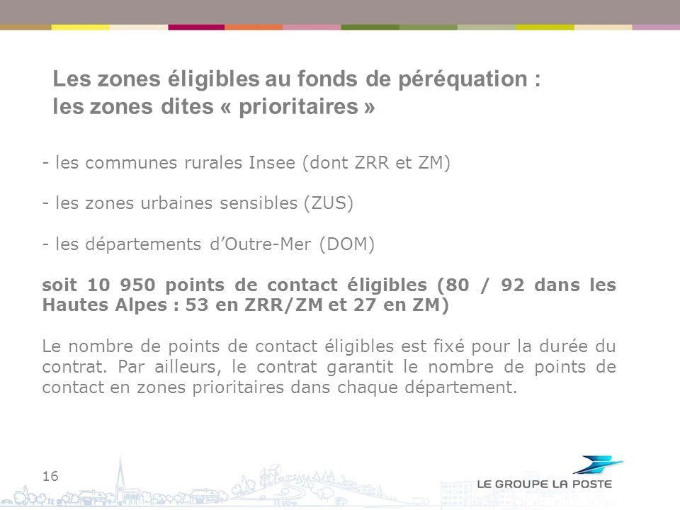 Les zones éligibles au fonds de péréquation : les zones dites « prioritaires »