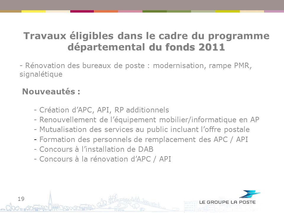 Travaux éligibles dans le cadre du programme départemental du fonds 2011