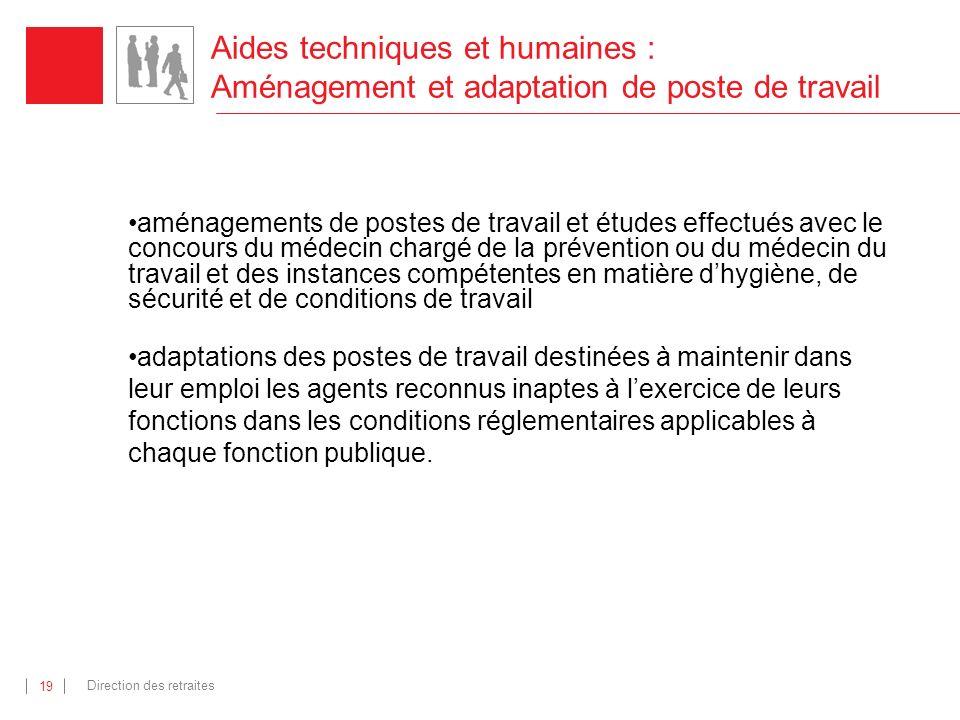 Aides techniques et humaines : Aménagement et adaptation de poste de travail