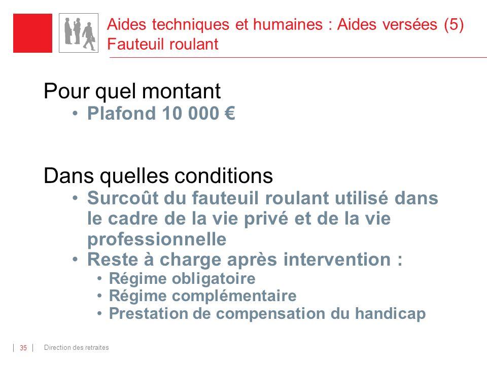 Aides techniques et humaines : Aides versées (5) Fauteuil roulant