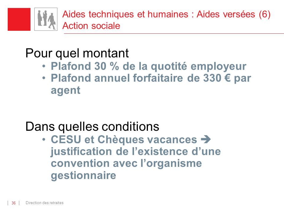 Aides techniques et humaines : Aides versées (6) Action sociale