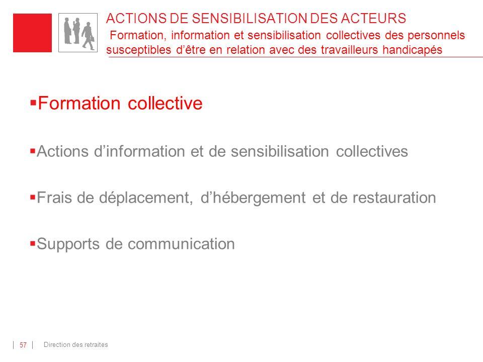 ACTIONS DE SENSIBILISATION DES ACTEURS Formation, information et sensibilisation collectives des personnels susceptibles d'être en relation avec des travailleurs handicapés