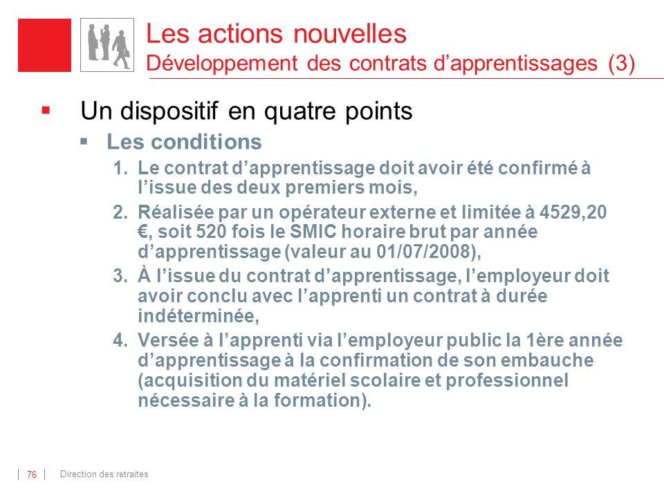 Les actions nouvelles Développement des contrats d'apprentissages (3)