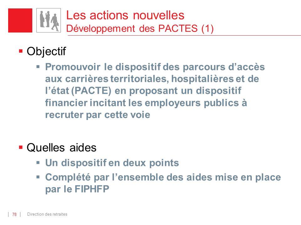 Les actions nouvelles Développement des PACTES (1)
