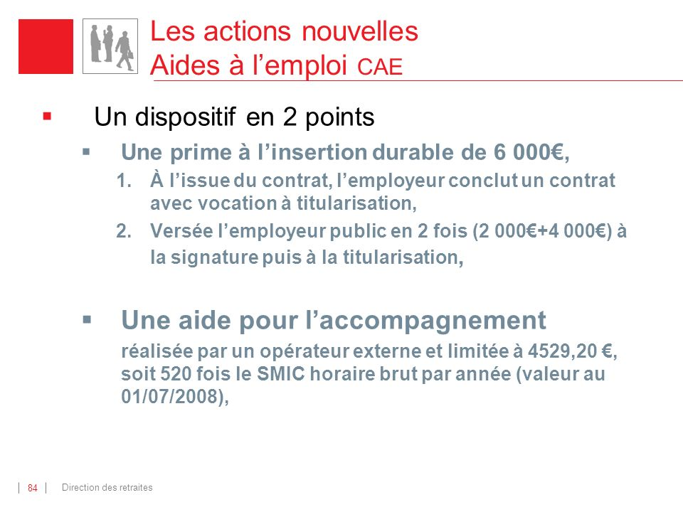 Les actions nouvelles Aides à l'emploi CAE