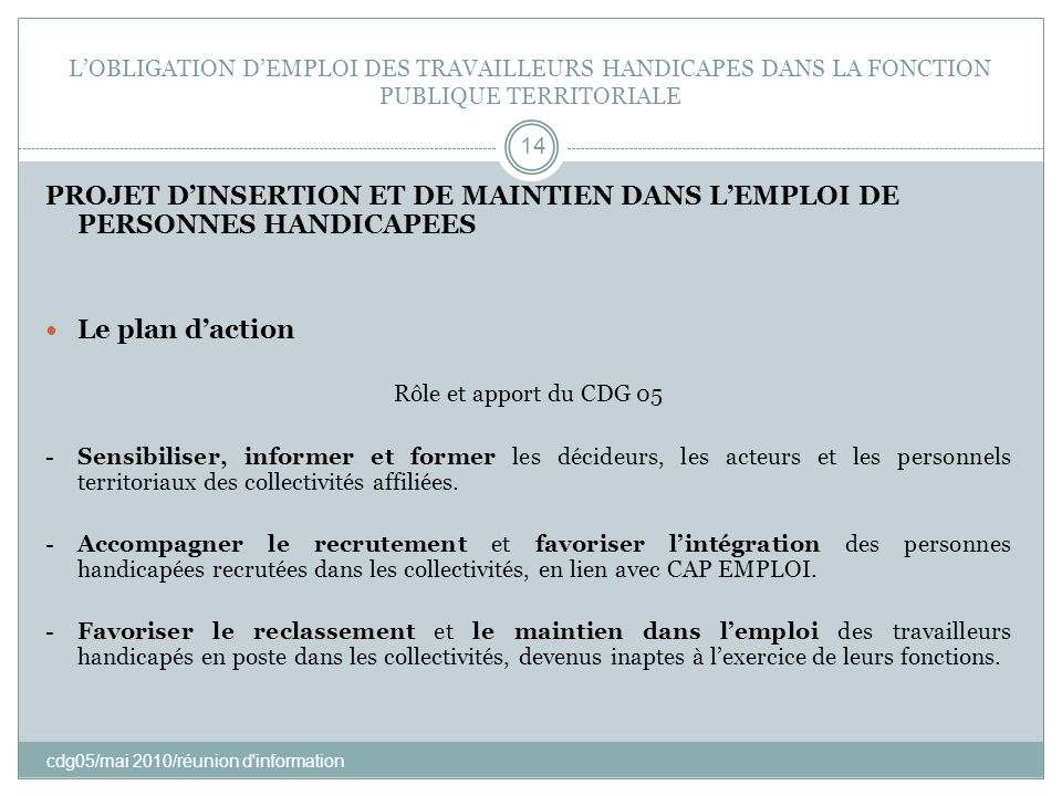 L'OBLIGATION D'EMPLOI DES TRAVAILLEURS HANDICAPES DANS LA FONCTION PUBLIQUE TERRITORIALE