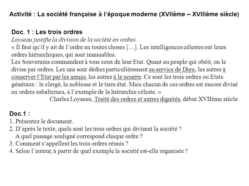 Activité : La société française à l'époque moderne (XVIIème – XVIIIème siècle)