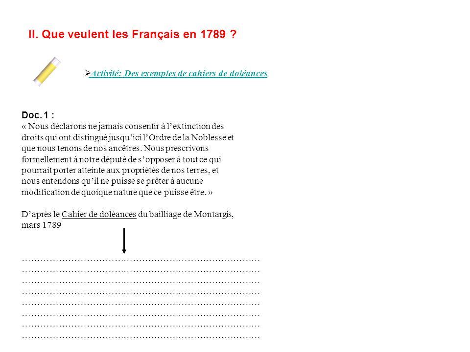 II. Que veulent les Français en 1789