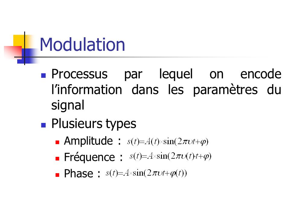 ModulationProcessus par lequel on encode l'information dans les paramètres du signal. Plusieurs types.