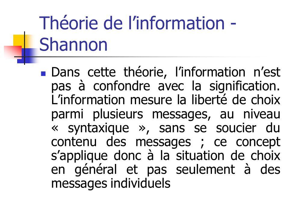 Théorie de l'information - Shannon