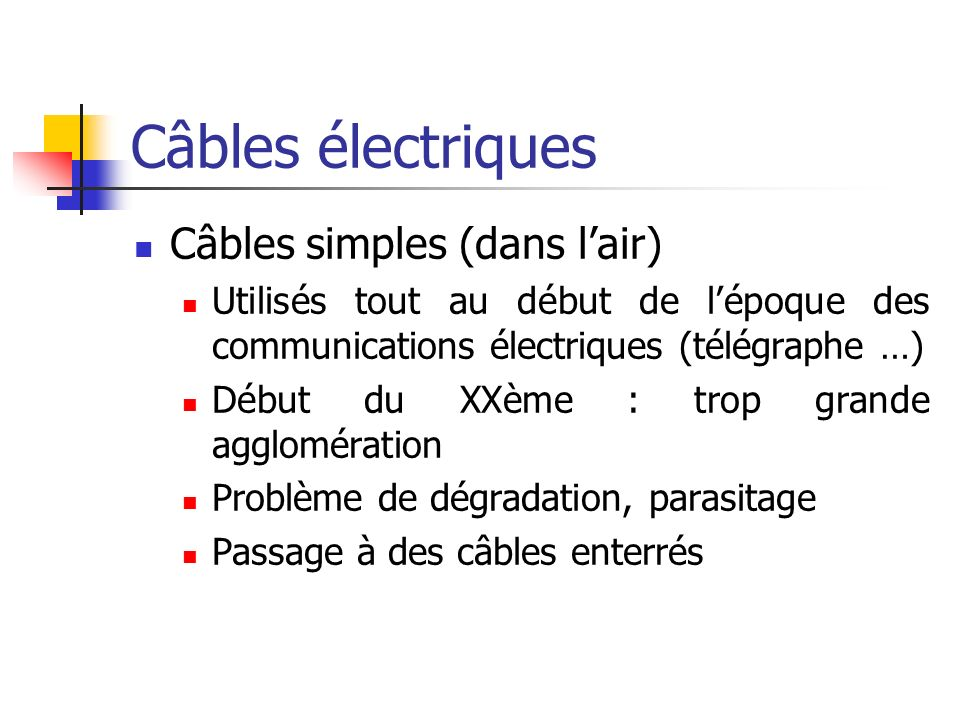 Câbles électriques Câbles simples (dans l'air)