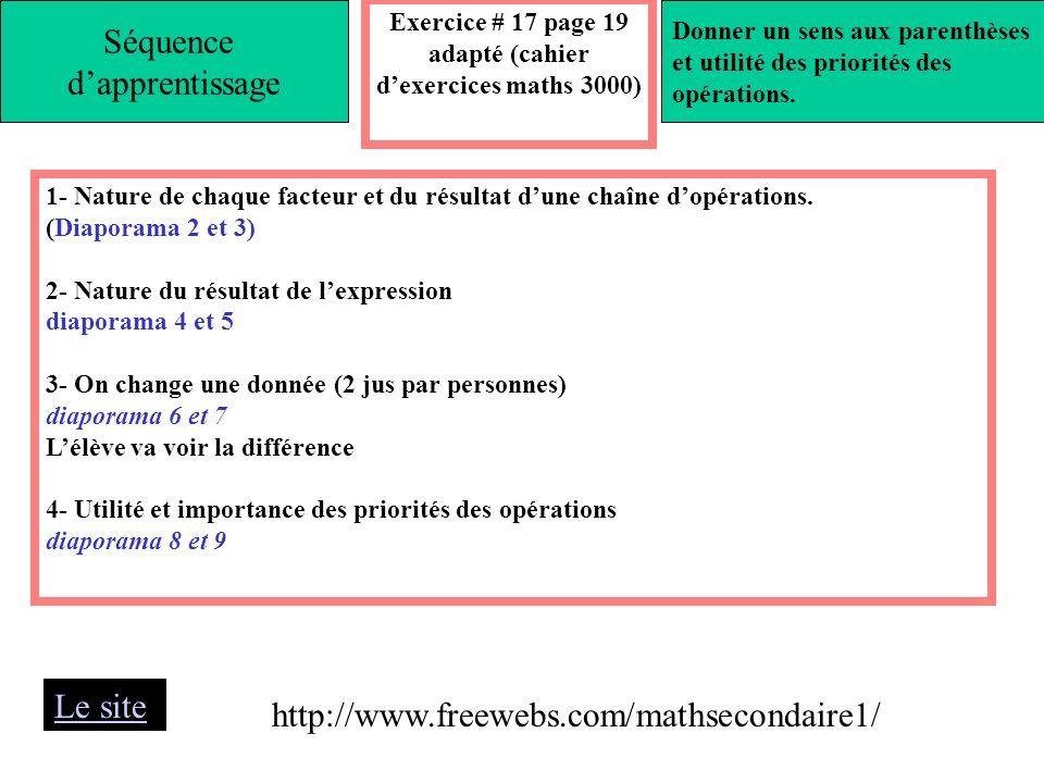 Exercice # 17 page 19 adapté (cahier d'exercices maths 3000)