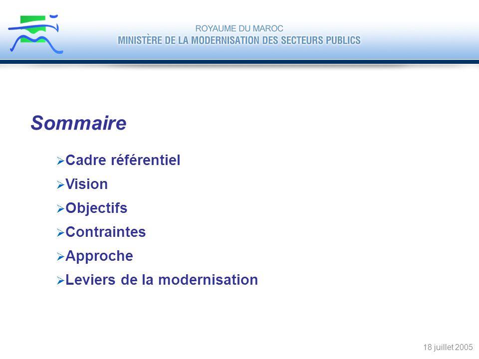 Sommaire Cadre référentiel Vision Objectifs Contraintes Approche