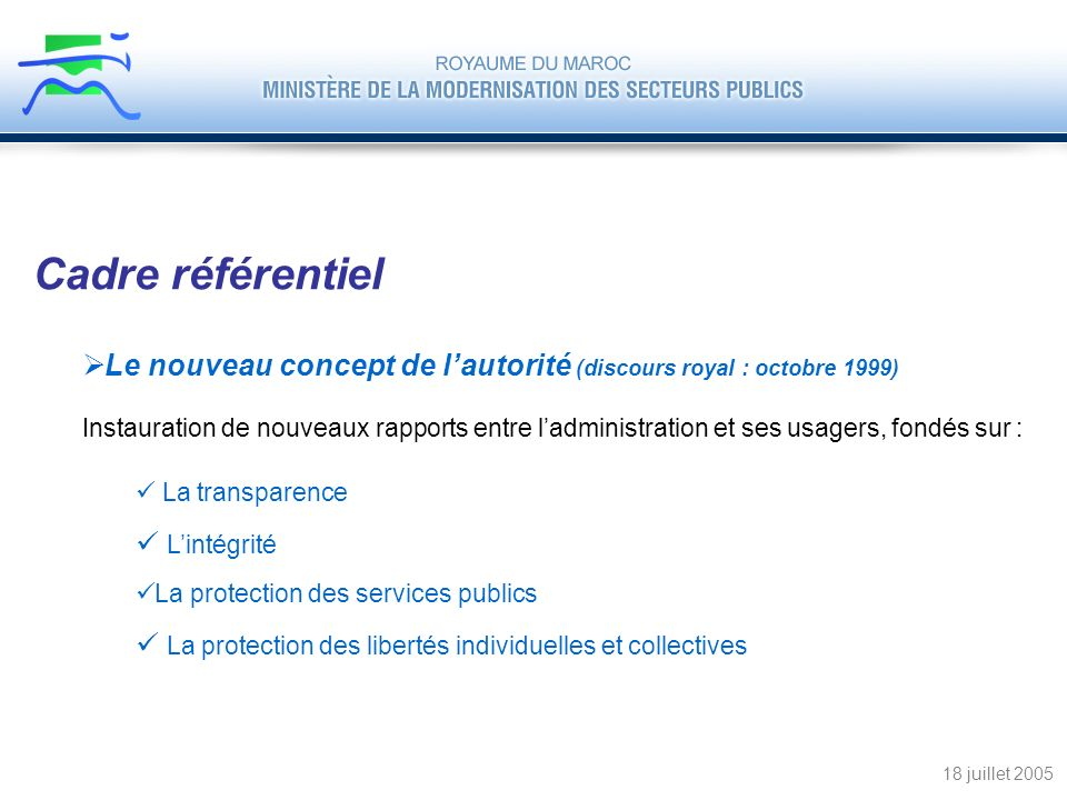 Cadre référentiel Le nouveau concept de l'autorité (discours royal : octobre 1999)