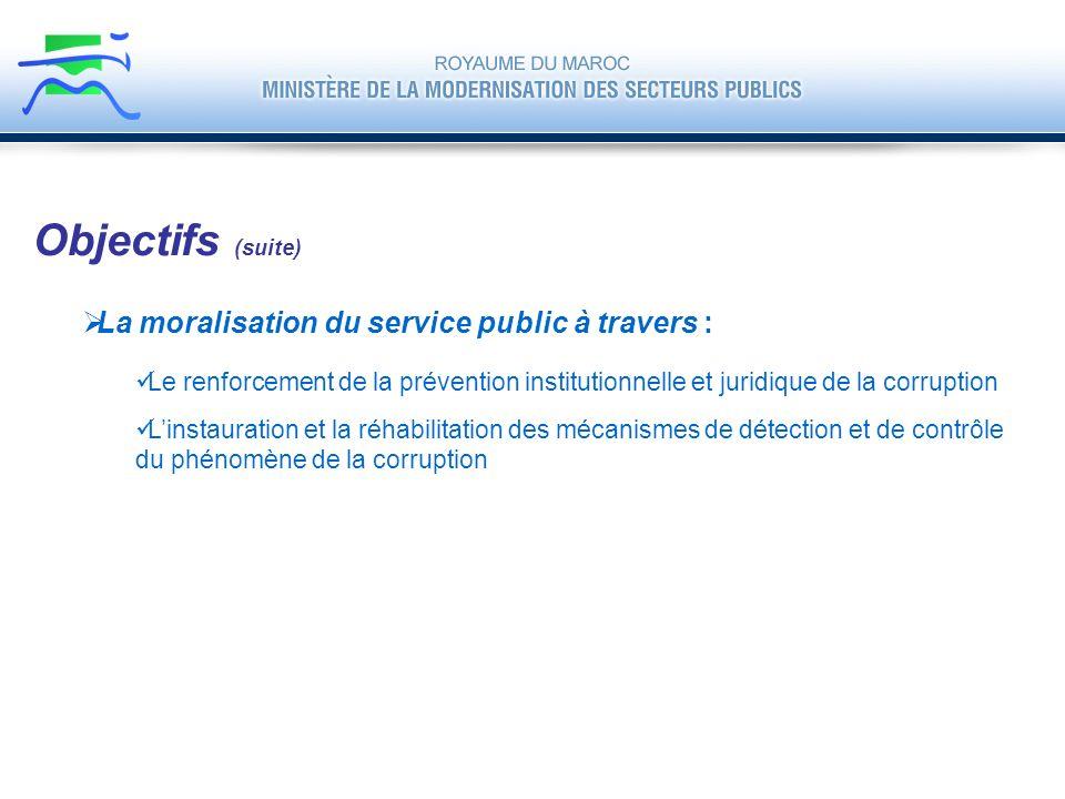Objectifs (suite) La moralisation du service public à travers :