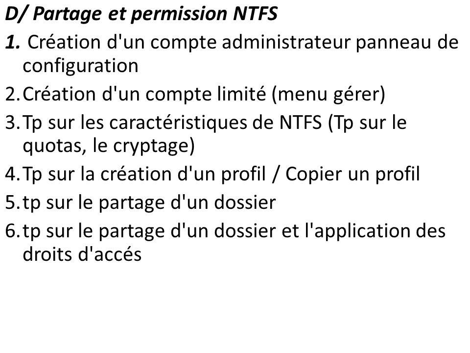 D/ Partage et permission NTFS