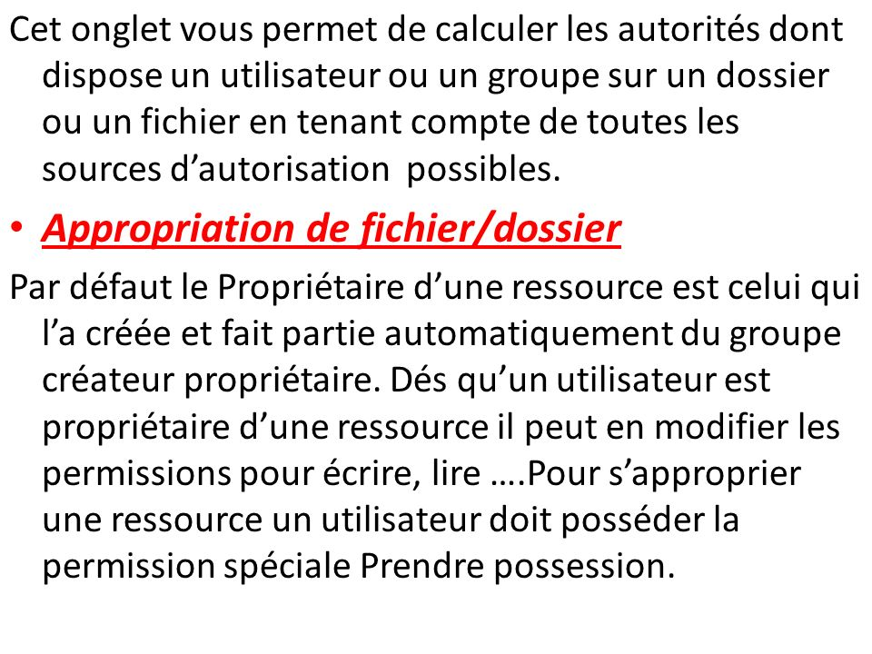 Appropriation de fichier/dossier