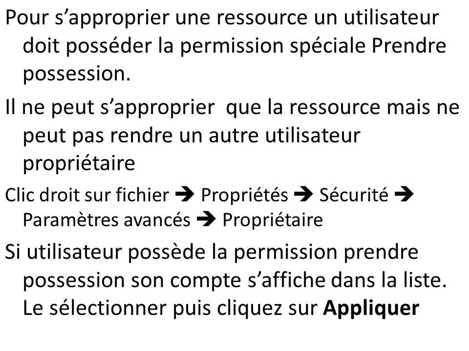Pour s'approprier une ressource un utilisateur doit posséder la permission spéciale Prendre possession.