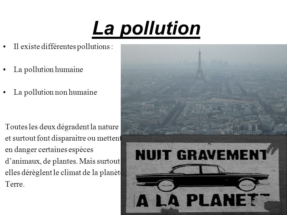 La pollution Il existe différentes pollutions : La pollution humaine