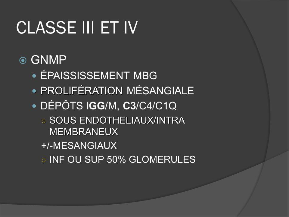 CLASSE III ET IV GNMP ÉPAISSISSEMENT MBG PROLIFÉRATION MÉSANGIALE