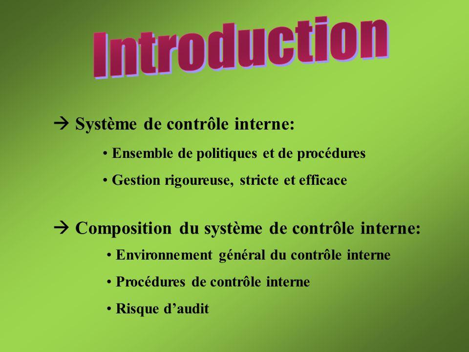Introduction  Système de contrôle interne: