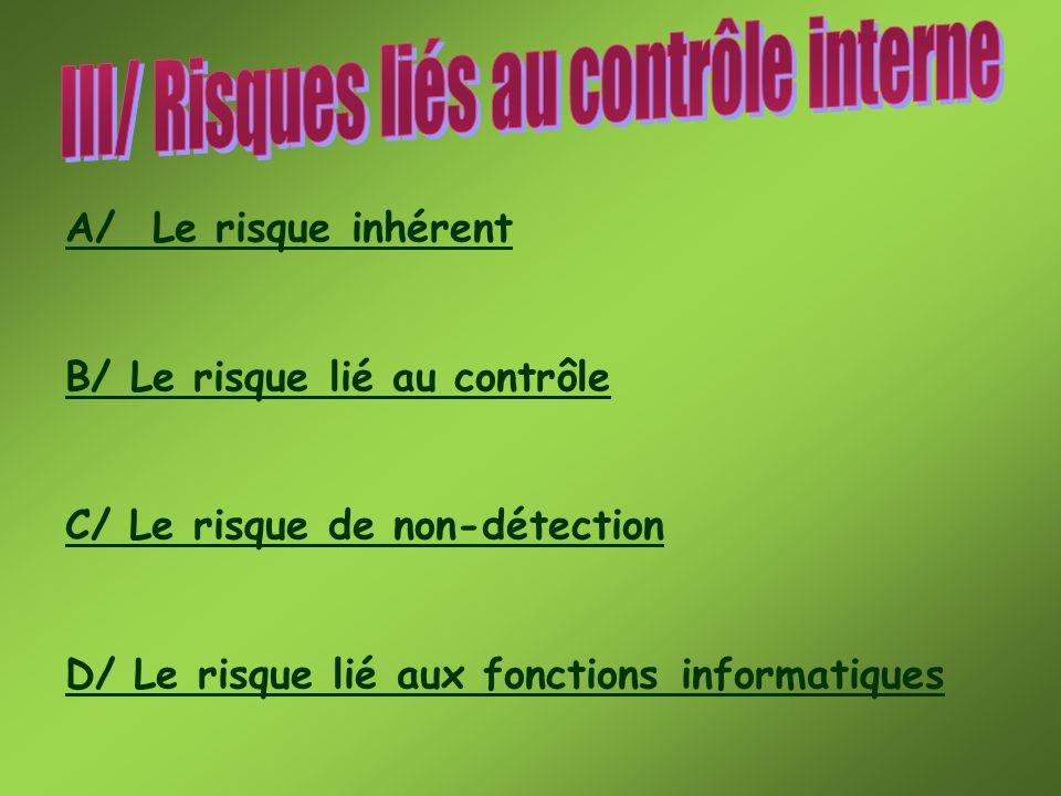 III/ Risques liés au contrôle interne
