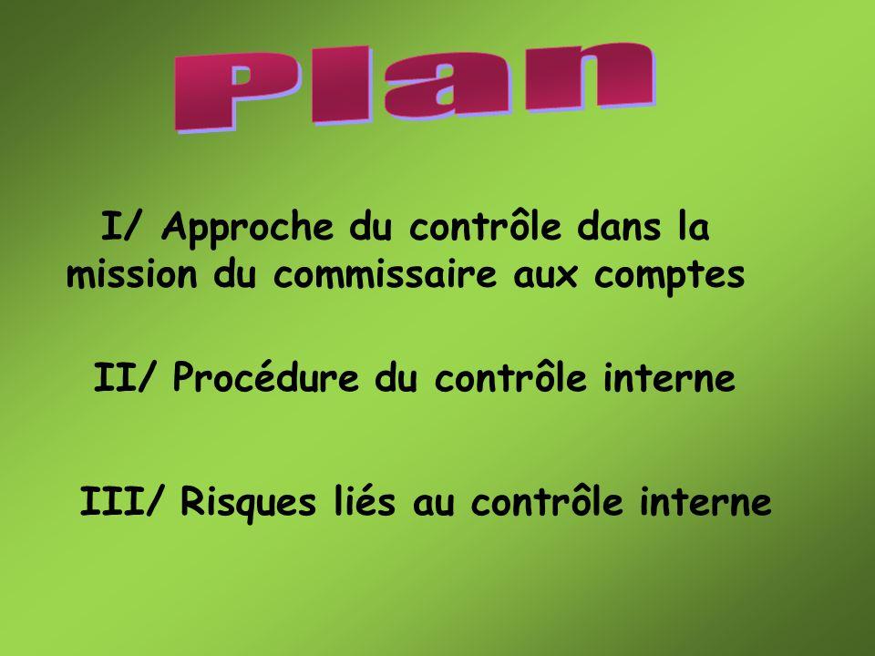 Plan I/ Approche du contrôle dans la mission du commissaire aux comptes. II/ Procédure du contrôle interne