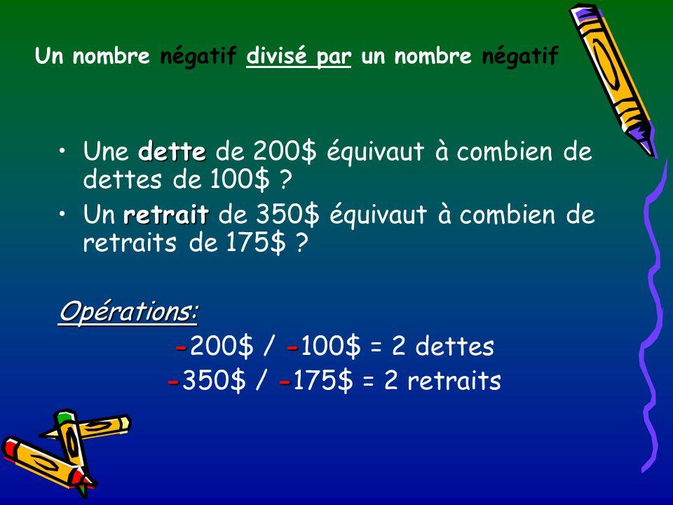Un nombre négatif divisé par un nombre négatif