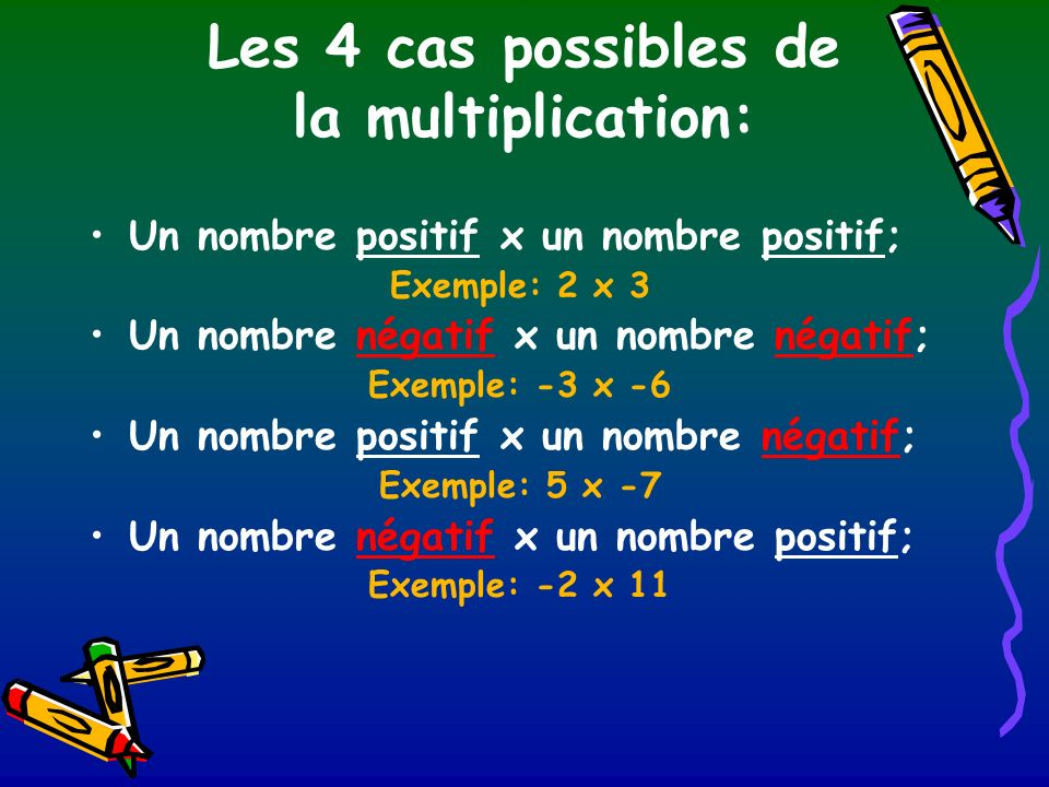 Les 4 cas possibles de la multiplication: