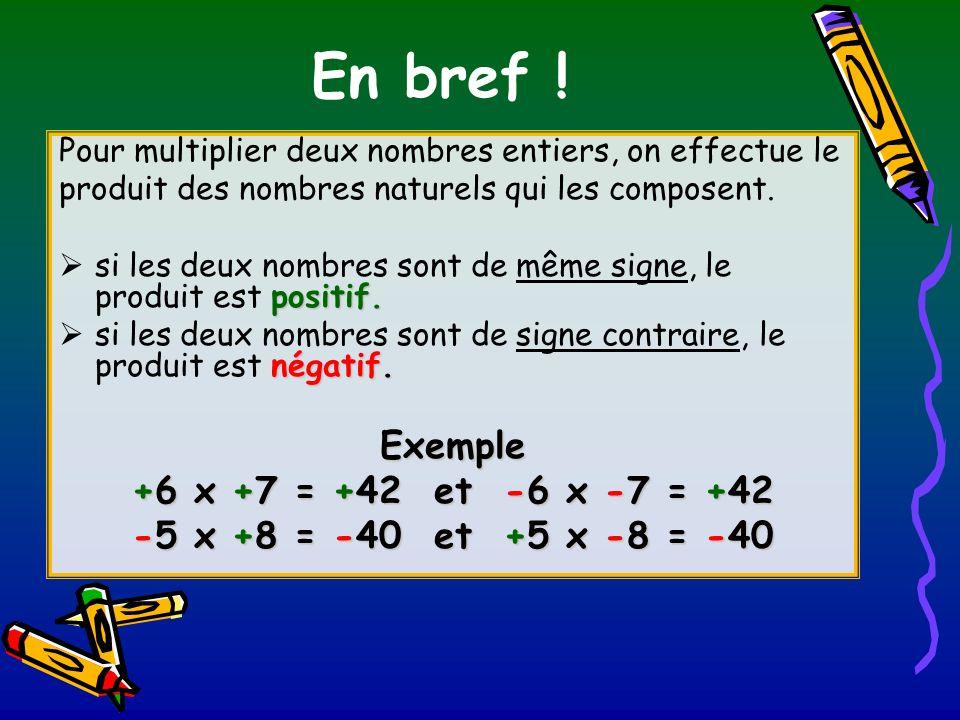 En bref ! Exemple +6 x +7 = +42 et -6 x -7 = +42