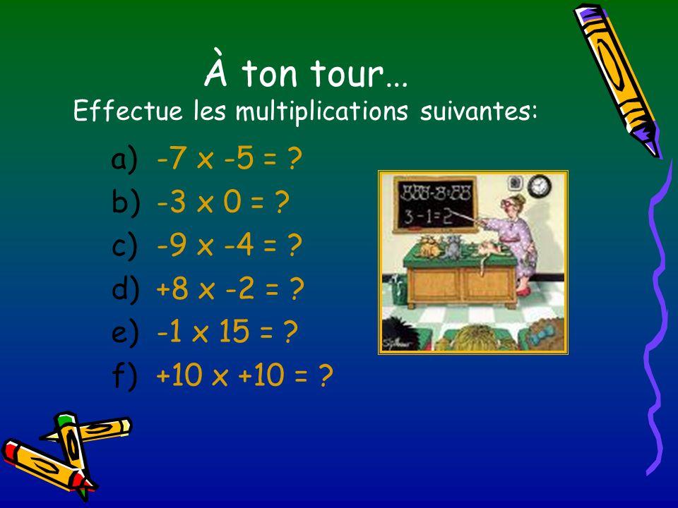 À ton tour… Effectue les multiplications suivantes: