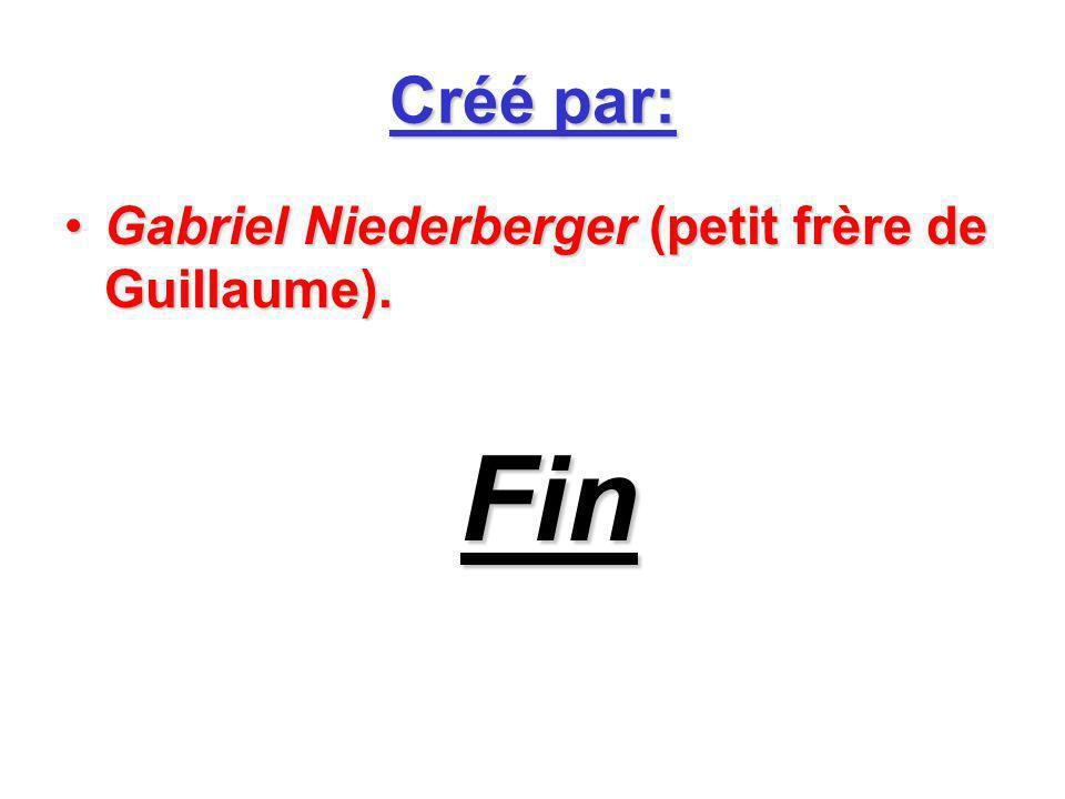 Créé par: Gabriel Niederberger (petit frère de Guillaume). Fin