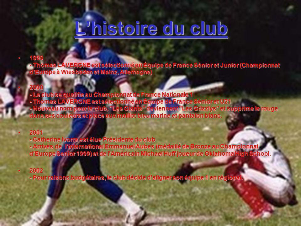 L'histoire du club 1999 - Thomas LAVERGNE est sélectionné en Équipe de France Sénior et Junior (Championnat d Europe à Wiesbaden et Mainz, Allemagne)