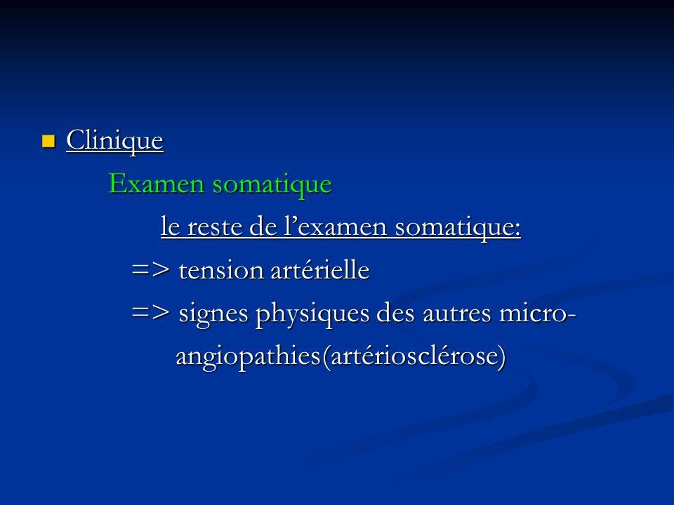 Clinique Examen somatique. le reste de l'examen somatique: => tension artérielle. => signes physiques des autres micro-
