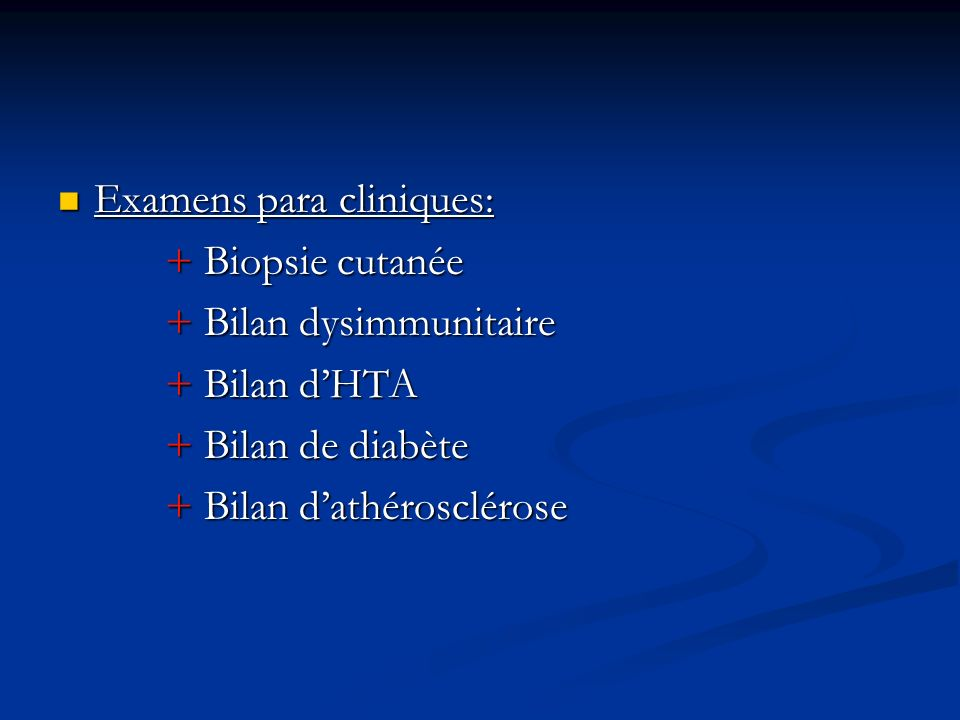 Examens para cliniques:
