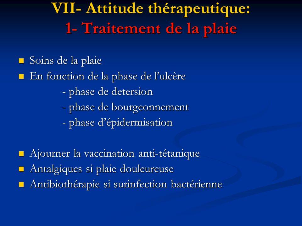 VII- Attitude thérapeutique: 1- Traitement de la plaie