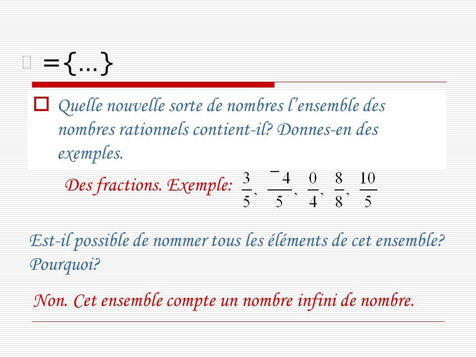 ={…} Quelle nouvelle sorte de nombres l'ensemble des nombres rationnels contient-il Donnes-en des exemples.