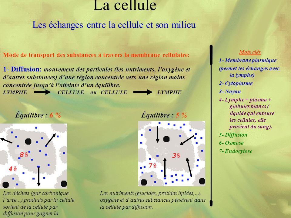 Les échanges entre la cellule et son milieu