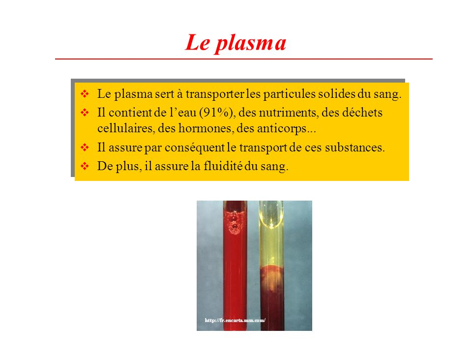 Le plasma Le plasma sert à transporter les particules solides du sang.