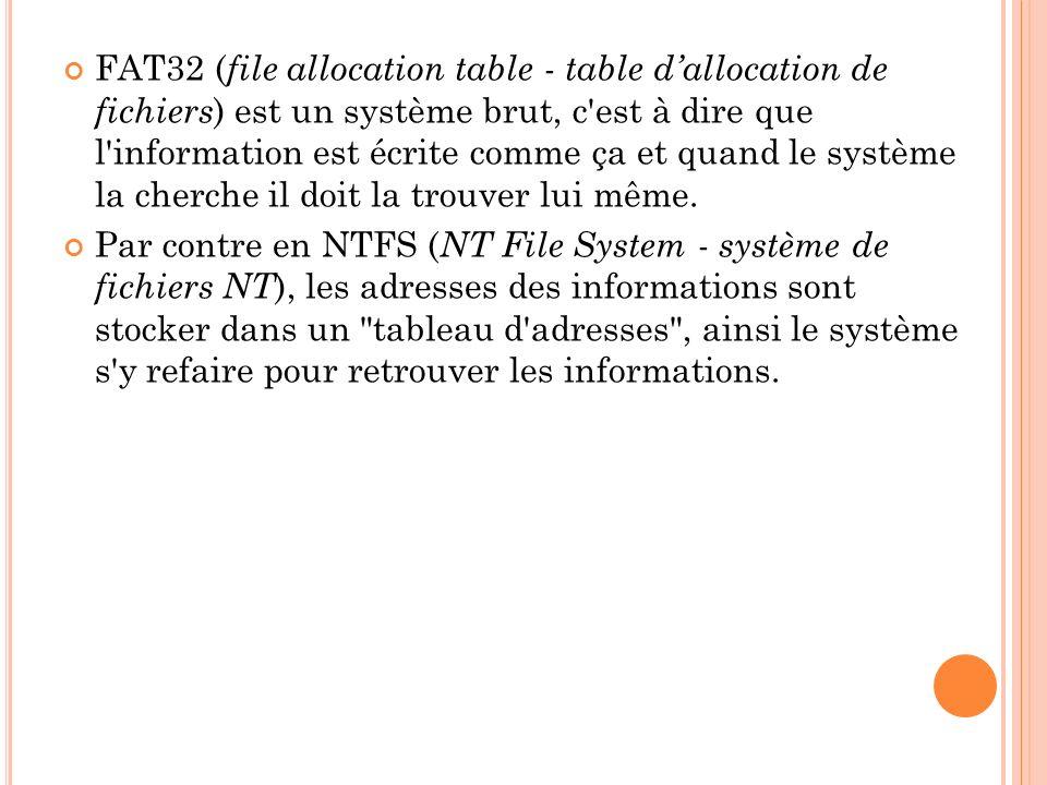 FAT32 (file allocation table - table d'allocation de fichiers) est un système brut, c est à dire que l information est écrite comme ça et quand le système la cherche il doit la trouver lui même.