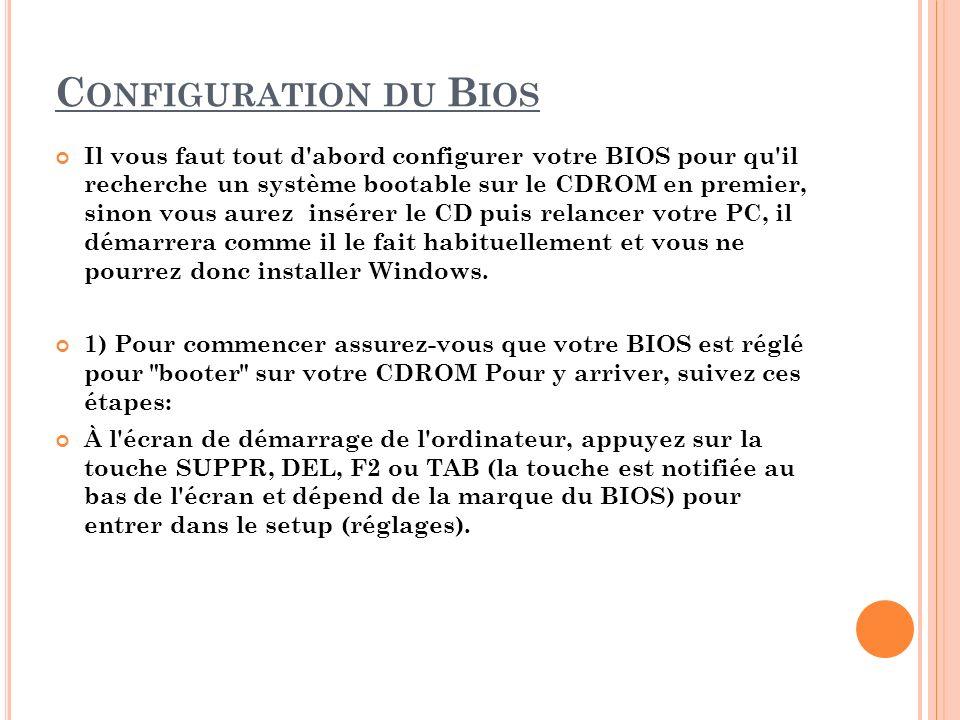 Configuration du Bios