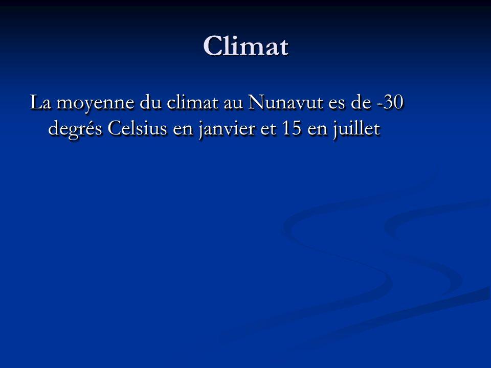 Climat La moyenne du climat au Nunavut es de -30 degrés Celsius en janvier et 15 en juillet
